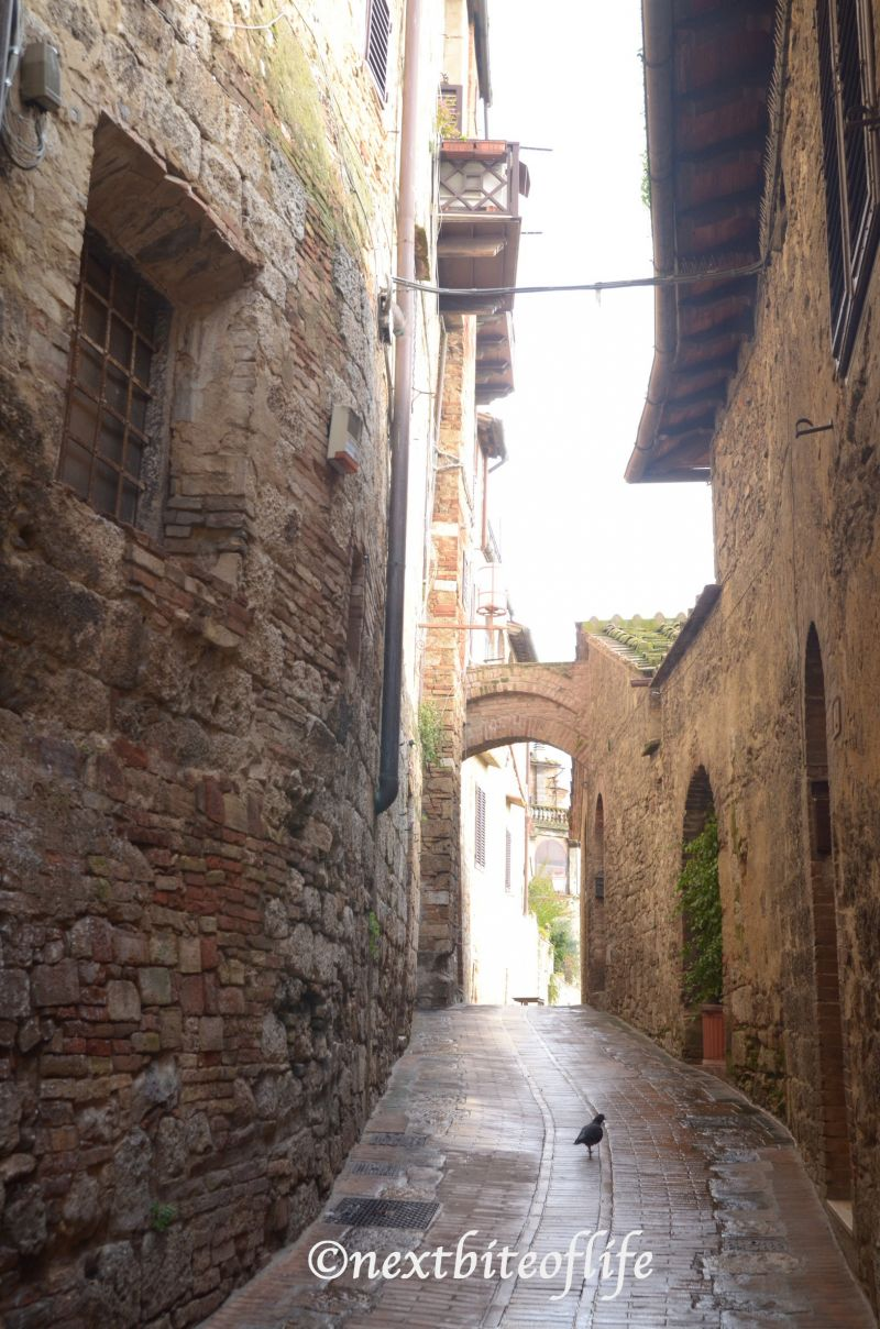 One of the many narrow streets in San Gimignano Italy
