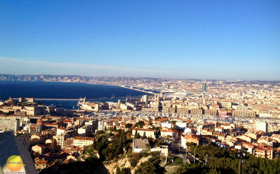 view from notre dame marseille of sea skyline