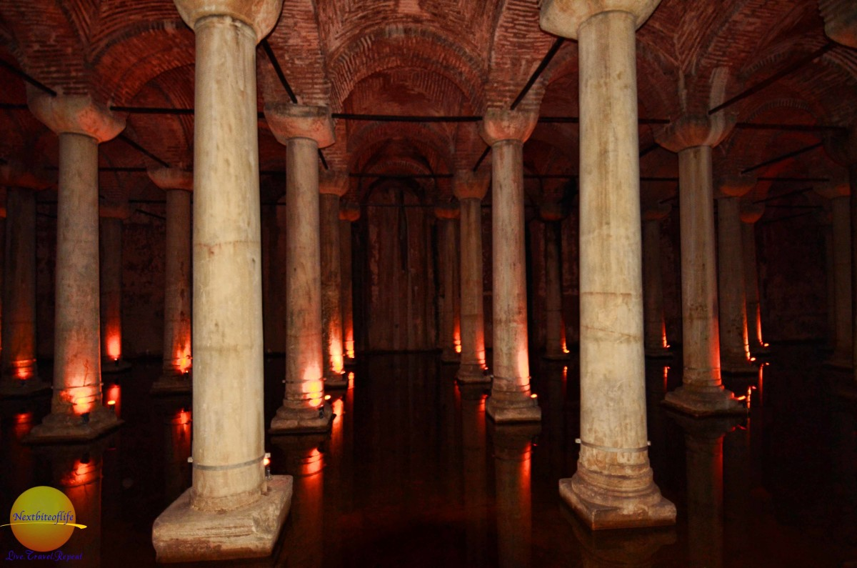 Underground in the Basilic Cistern. It was so dark. This used to provide the water for the city in the olden days.