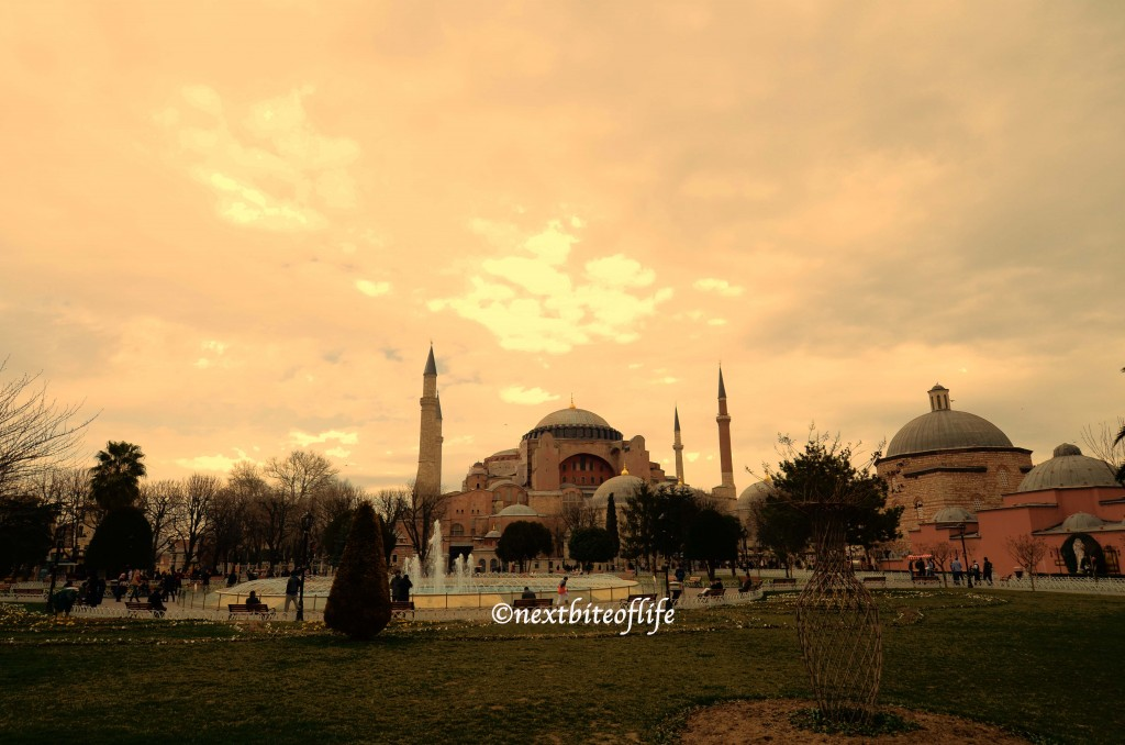 sunset over the hagia sofia istanbul turkey