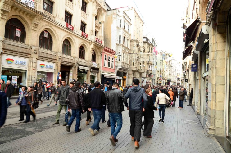 It gets quite packed around Taksim Square as you can see. It's kind of cool to see all the western style stores mixed in with the independent ones.