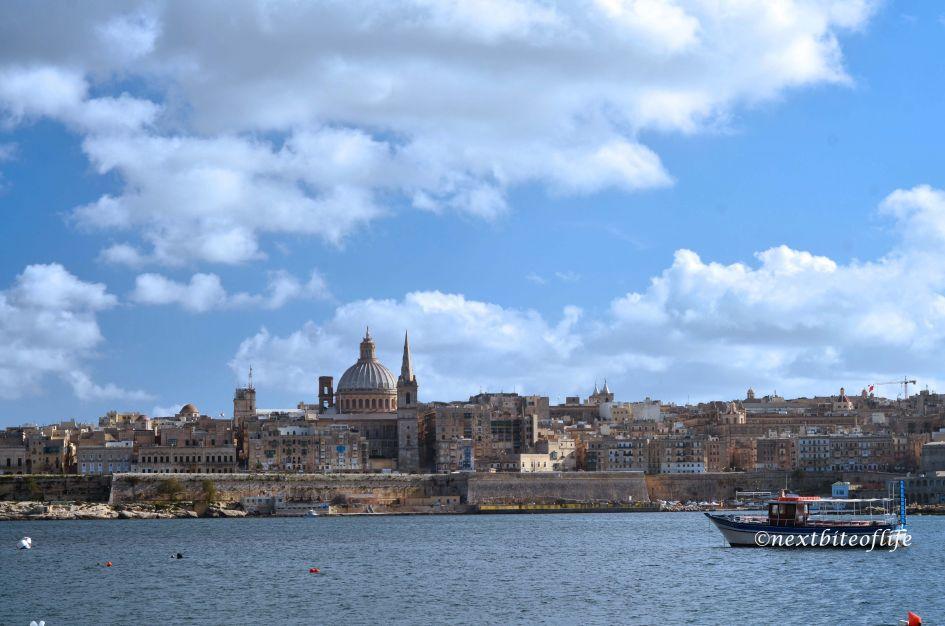 Valletta view across the sea. It's a beautiful day in my Malta neighborhood