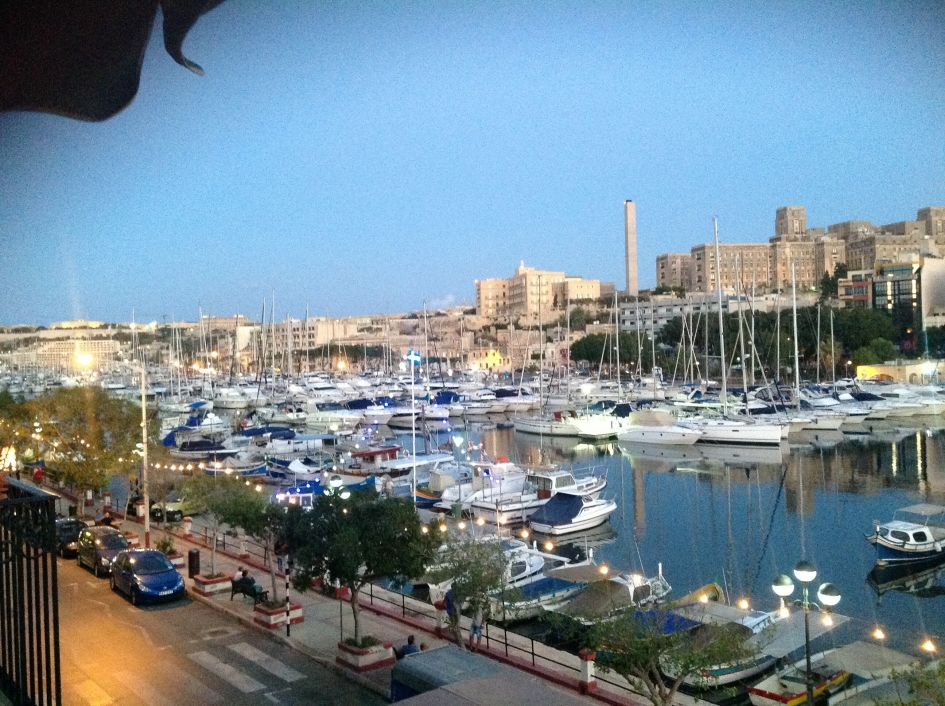 Malta vs U.S monthly cost comparison view from our balcony of the Msida Marina