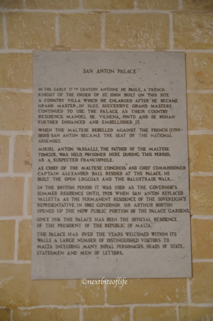 San Anton gardens palace wall plaque