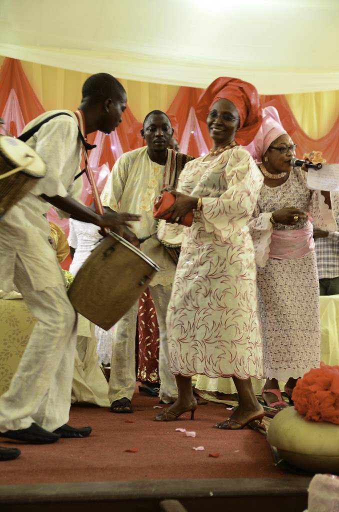Time to dance at a Nigerian engagement ceremony with drummers..