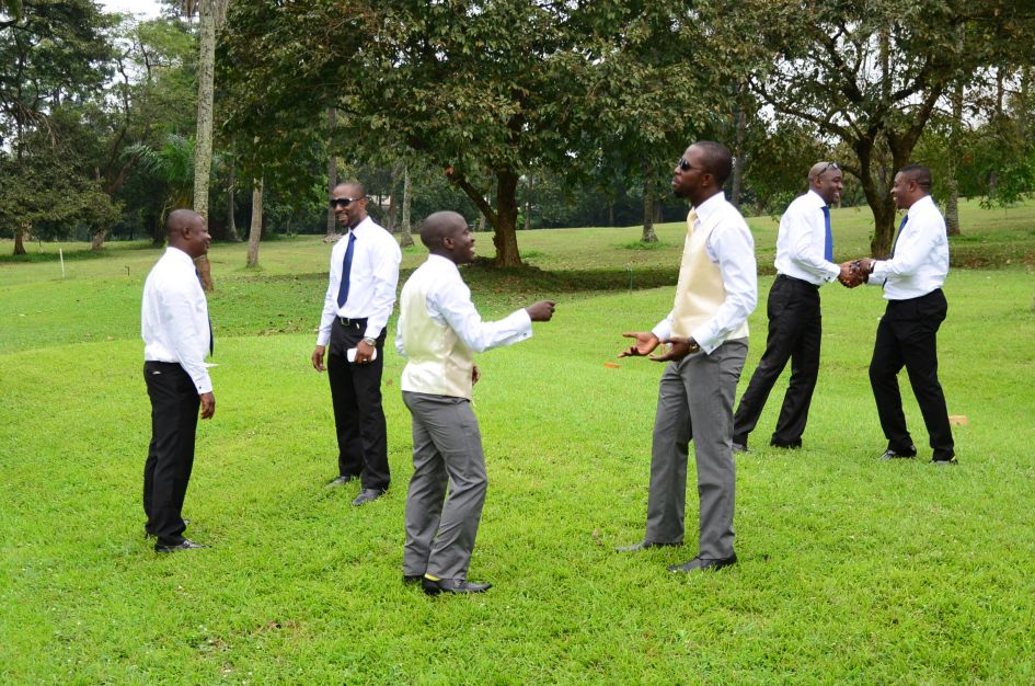 Groom and his crew fooling around before the ceremony