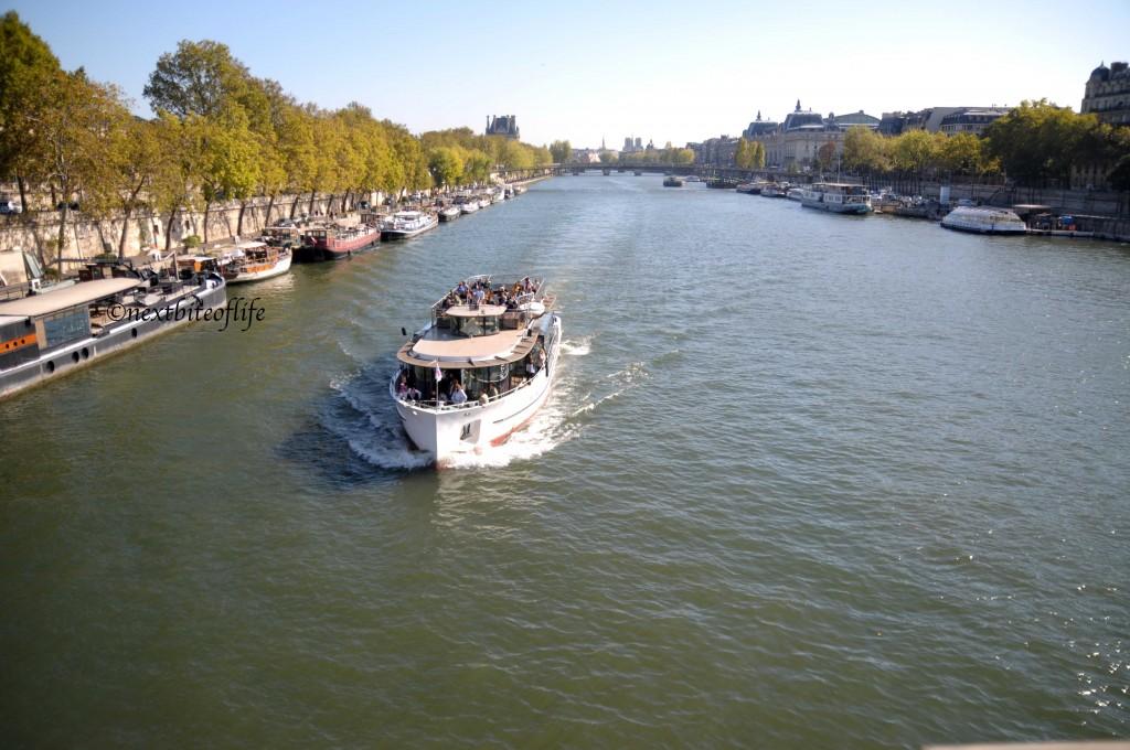 Cruising down the Seine River.