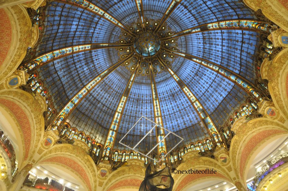 Pritemps department store ceiling - part of your paris in a day via the Eurostar trip