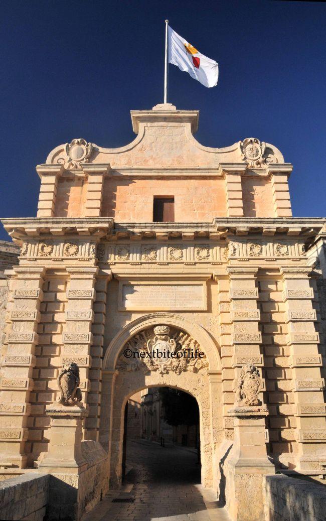 Mdina gate: entrance to Mdina the silent city Malta