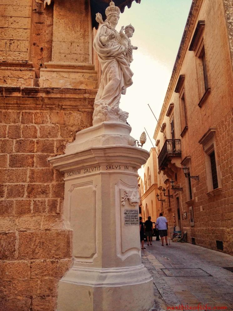 statue of Madonna and child in mdina malta