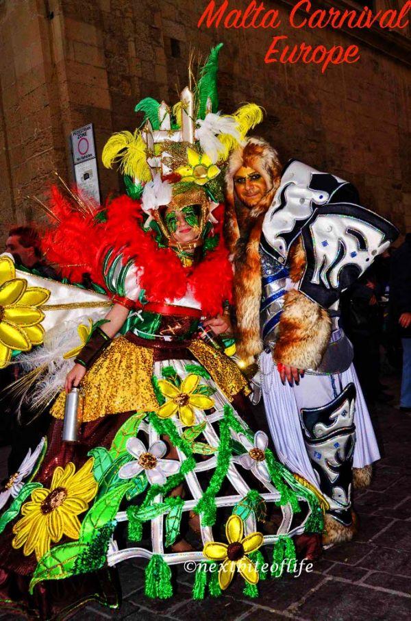 A man in lion costume and woman in carnival gear #maltacarnival #festivalmalta #visitmalta #europe