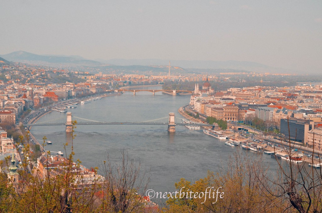 View of Budapest from the Citadel showing Buda and Pest sides