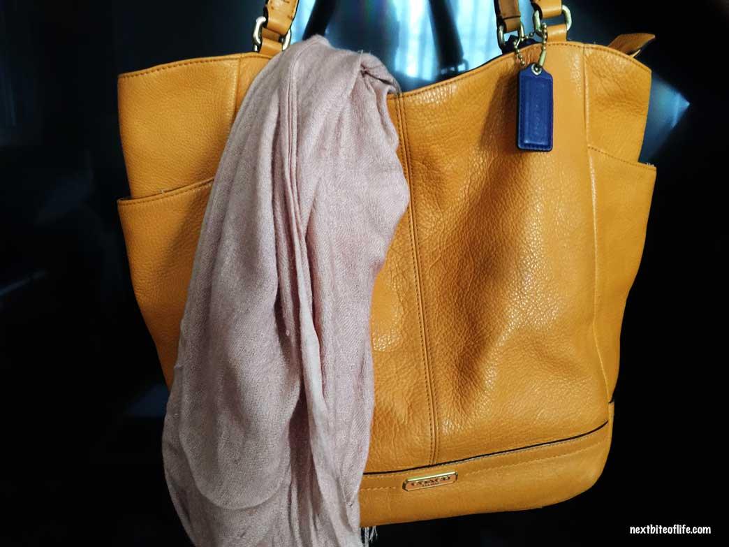 coach handbag with scarf