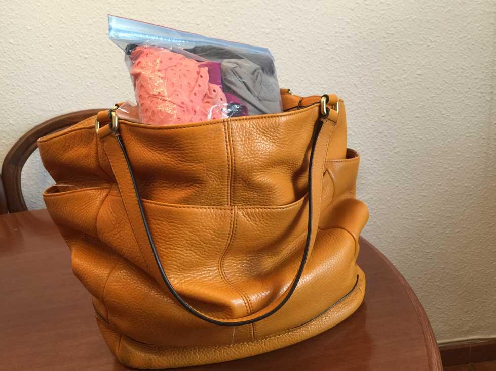 coach bag orange with ziploc bag