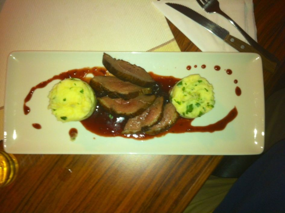 duck with mashed poptato side plate budapest
