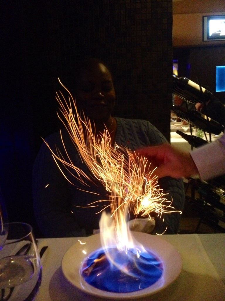 image of flaming dessert at Kheiron Budapest