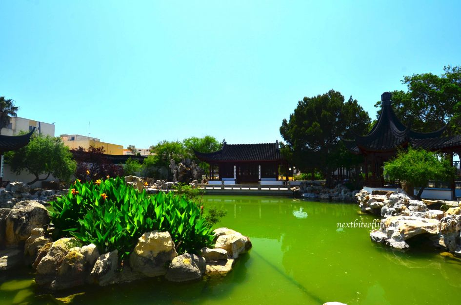 pond with pavilion view at gardens St. Lucija