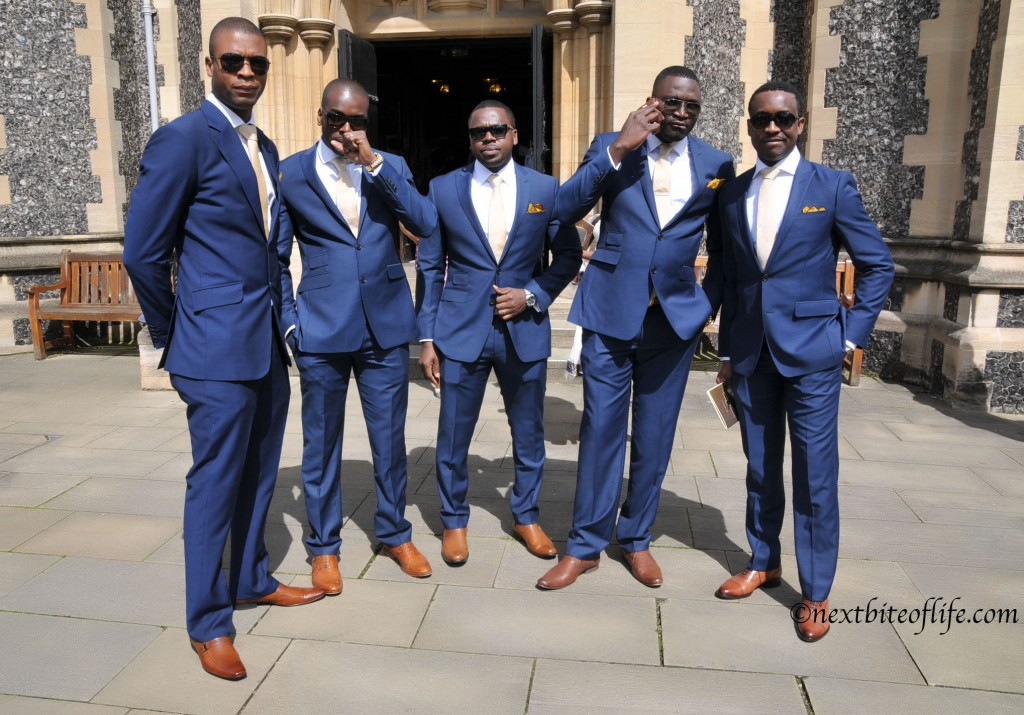 Groomsmen outside the church at the London wedding.