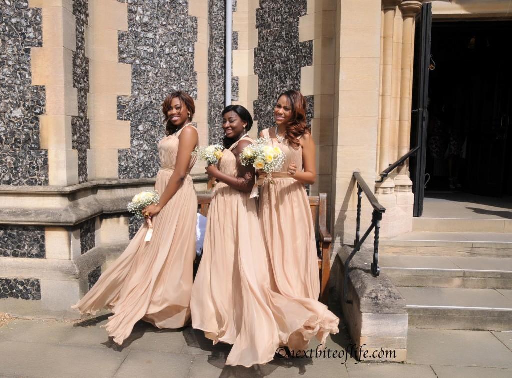 bridesmaids outside wedding church London