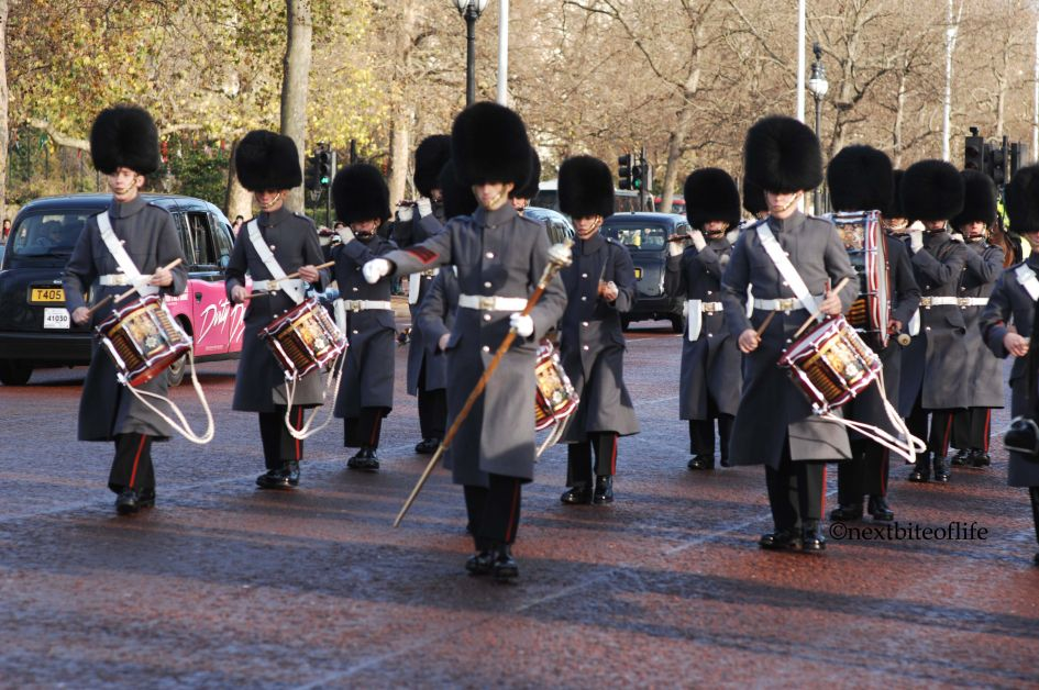 Queens guard marching in London. Frugal London tip - see free shows