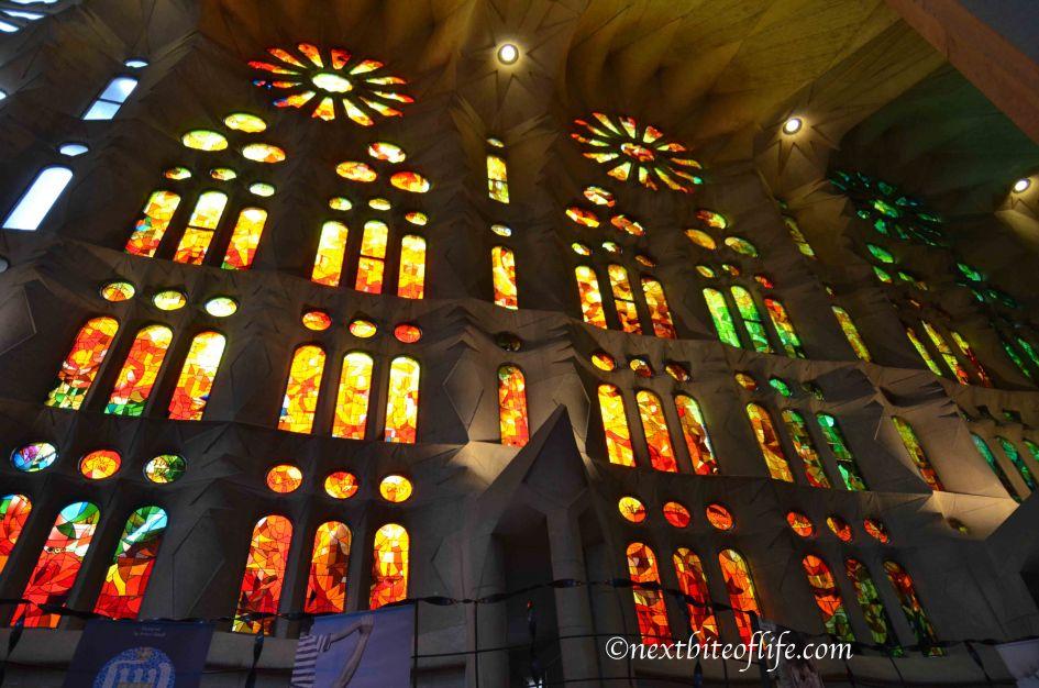 Barcelona travel guide Sagrada glasswork