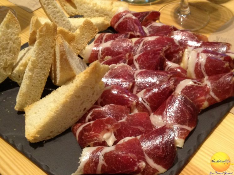 jamon plate in barcelona with bread