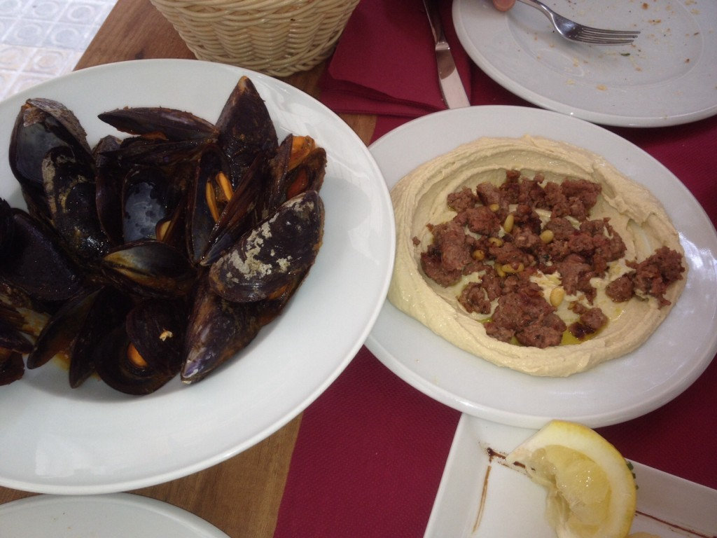 image of hummus and mussels- what to eat in Barcelona