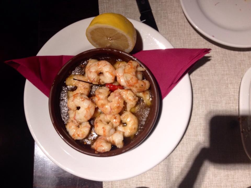 Barcelona buenos aires grill plate of shrimp