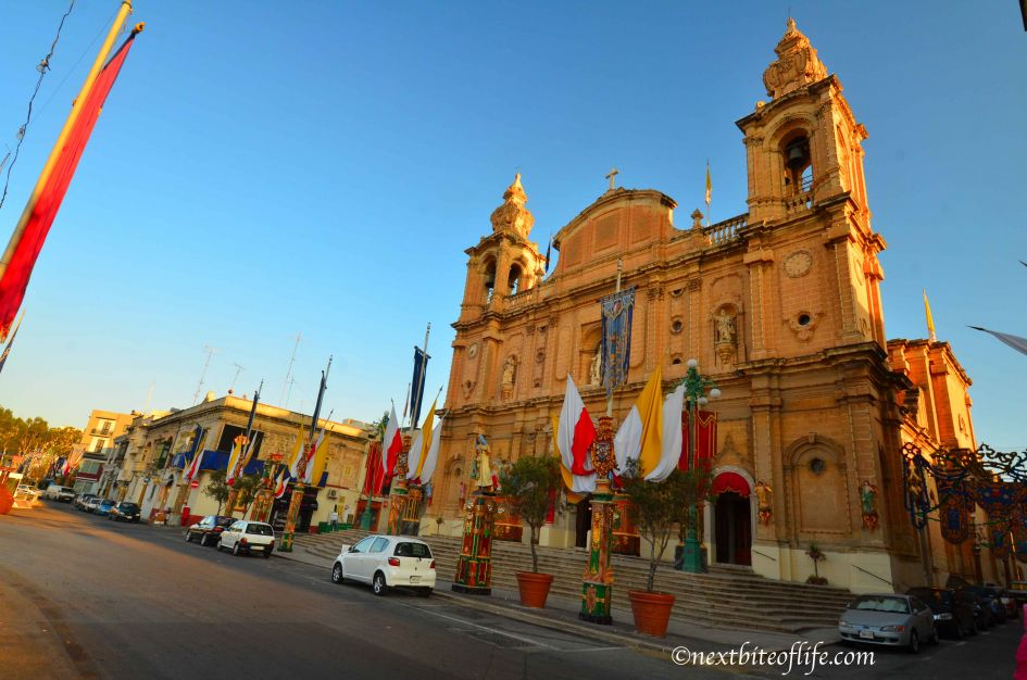 church in Msida Malta side view with flags and decorations