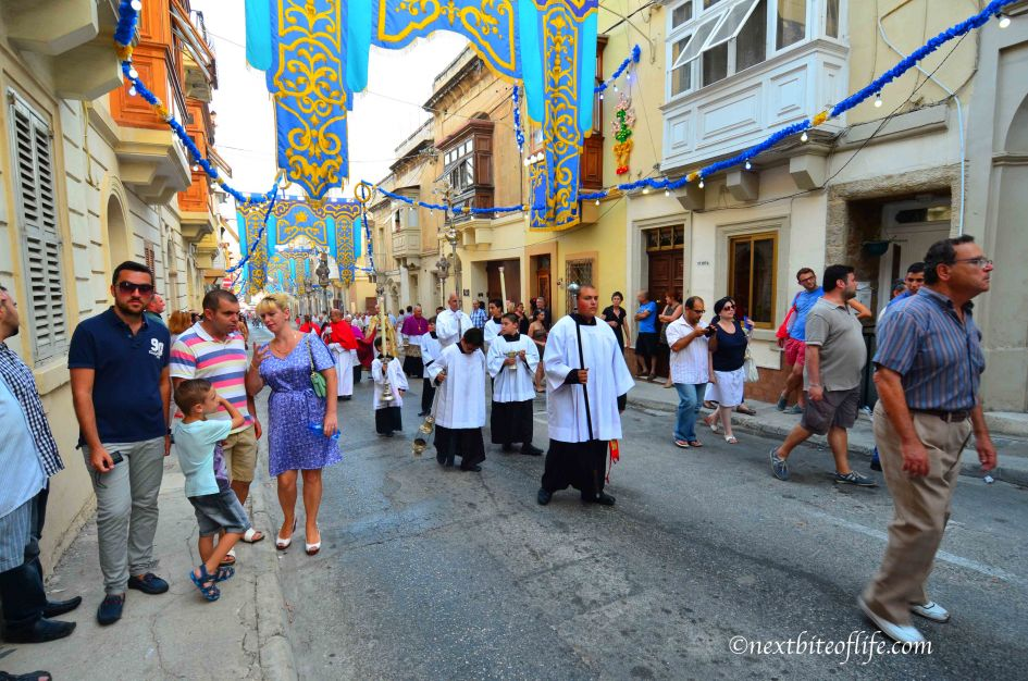 The streets are nicely decorated in Malta for the St. Joseph day parade