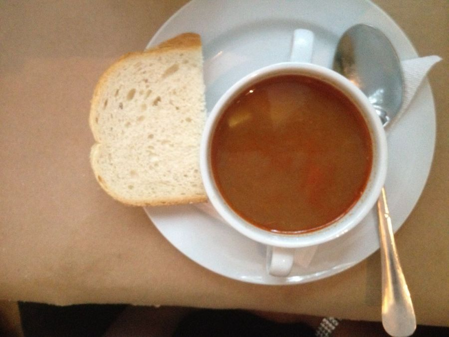 soup with bread on the side