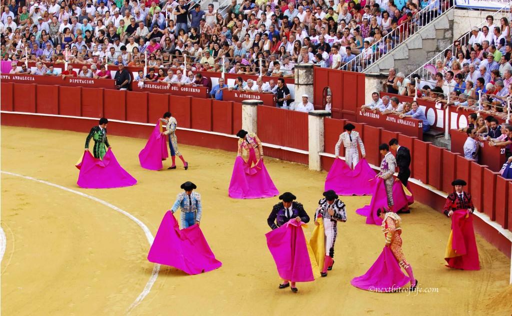 Matadors getting prepped at bullfight
