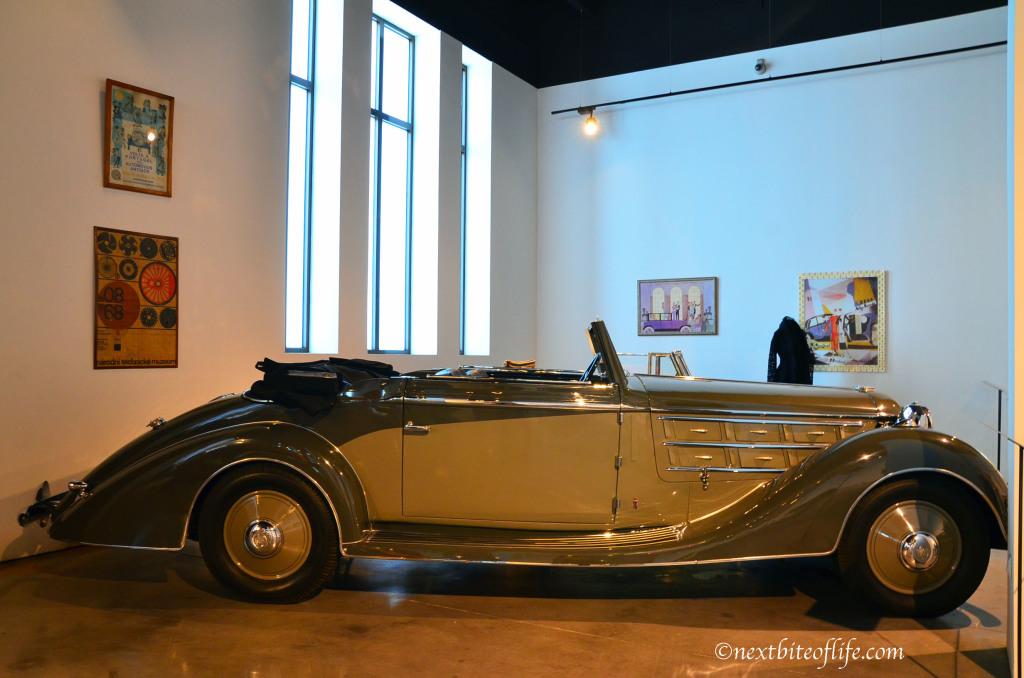 brwon and creme convertible at museo automovil malaga