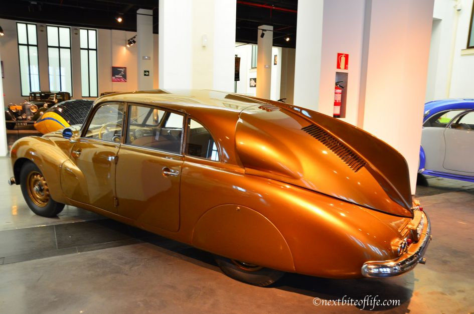 ugly brown classic car at auto museum malaga