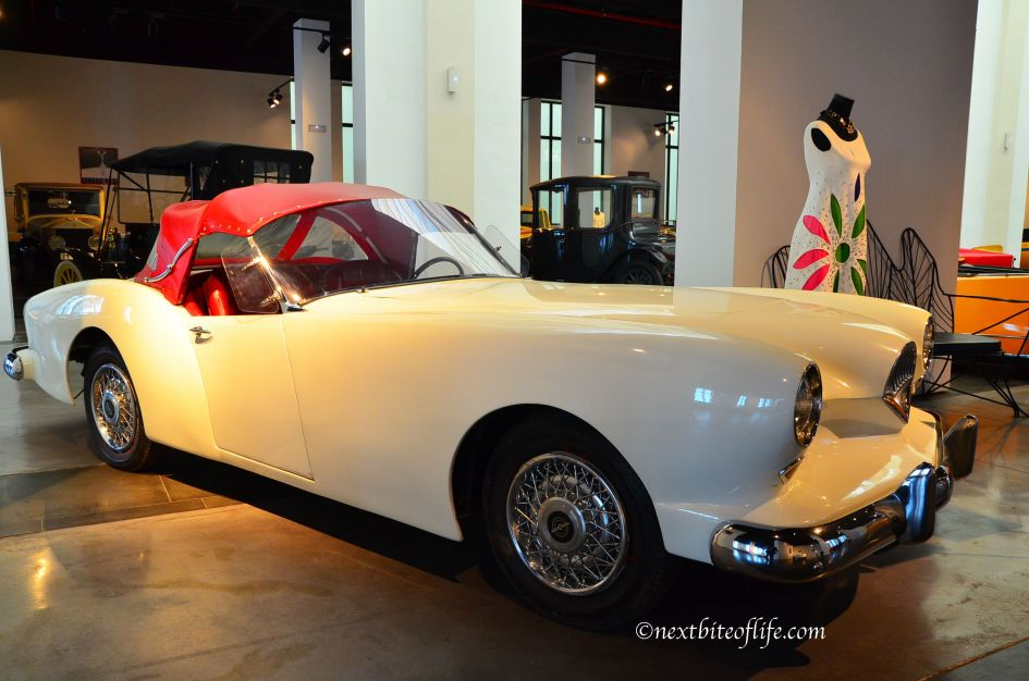 I wouldn't mind this one! creme color with red top convertible at Malaga car museum