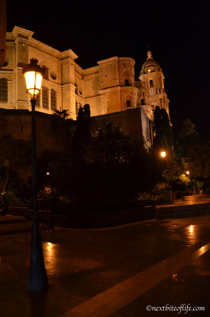 These are actually 2 churches. The tower belongs to the Malaga Cathedral.