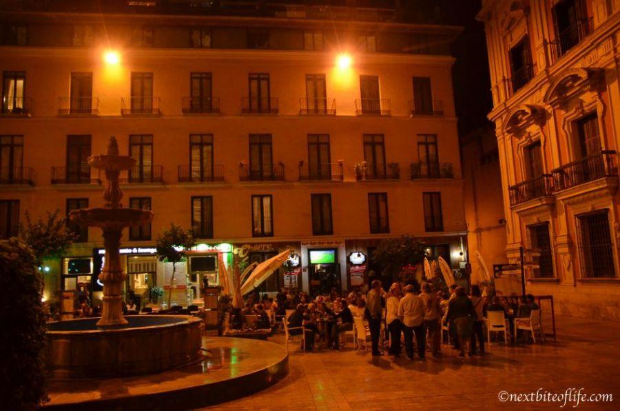 Al fresco dining in Malaga center at night