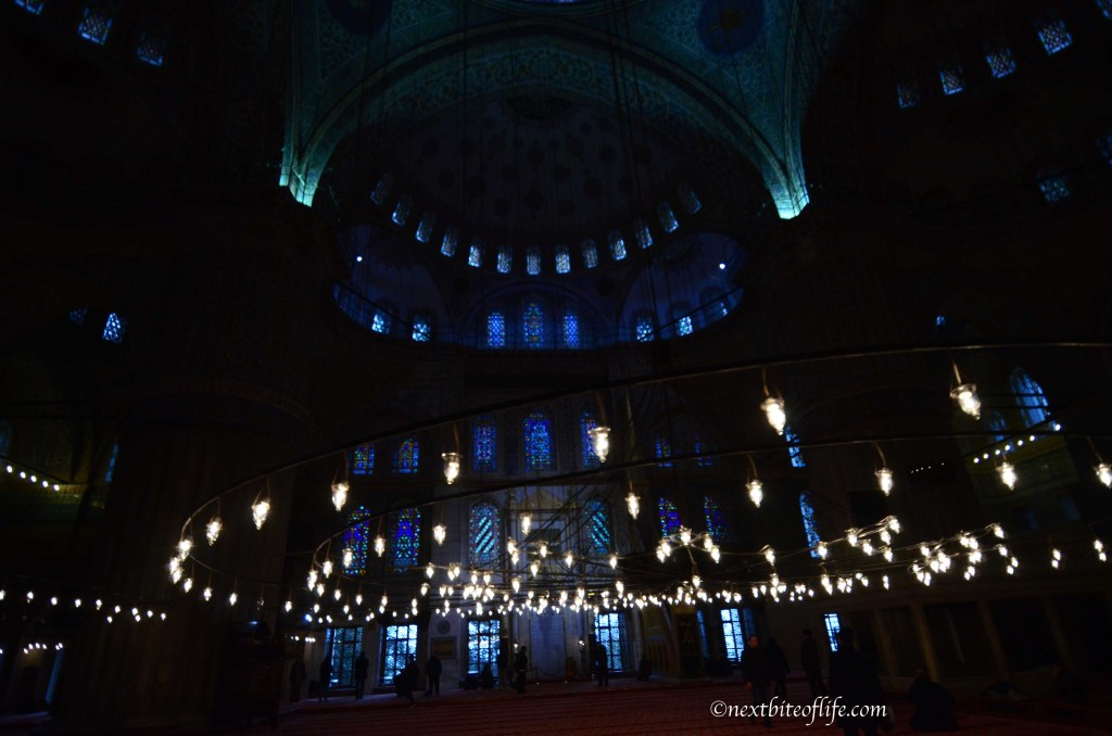 blue mosque interior lit