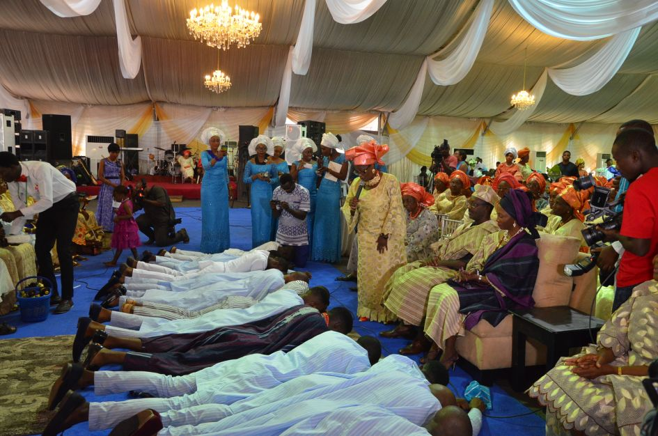 Groom and family asking for the bride's hand in nigerian marriage