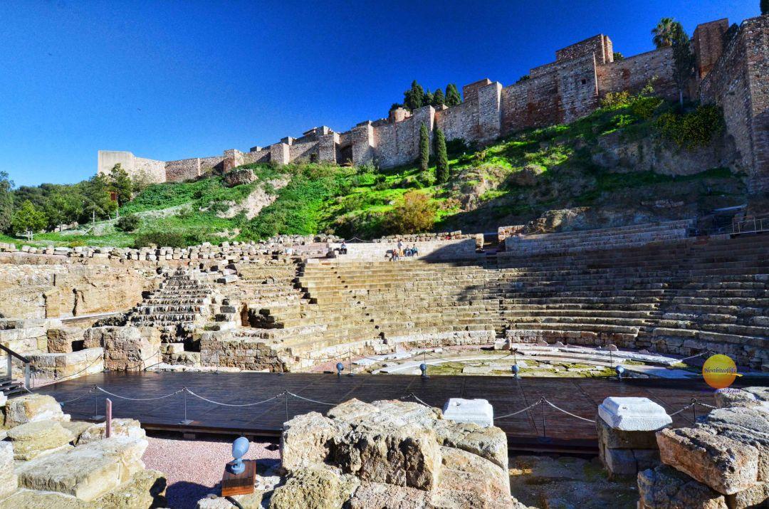 alcazaba and teatro romano view, malaga
