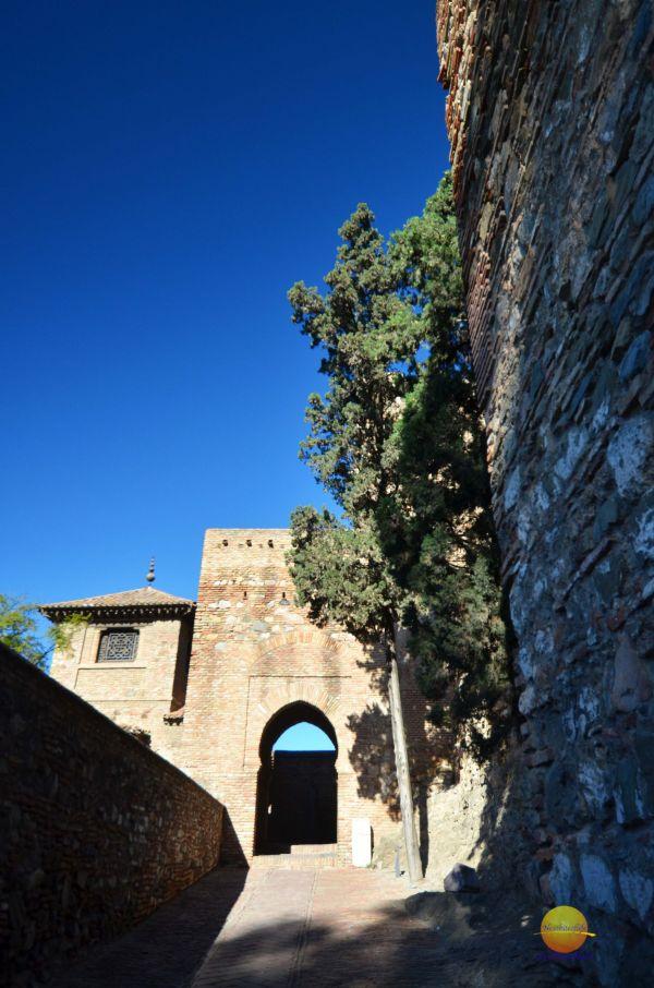 alcazaba and teatro romano fortress gate with orange trees