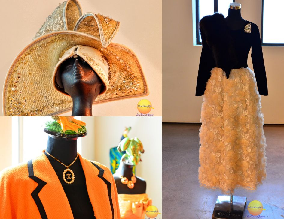 collar with chain and orange jacket, swarovski hat and elegant black and cream outfit