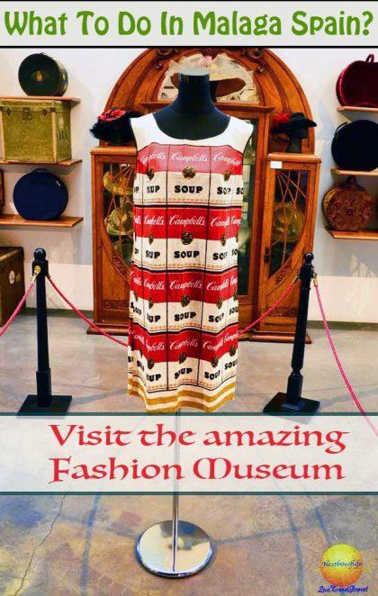 warhol campbells soup dress. Things to do in Malaga #topthingstodoinmalaga #malagafashionmuseum #fashion #museum #spain #malaga #museoautomovilistico #mustseeMalaga #warholcampbellsoupdress #vintage