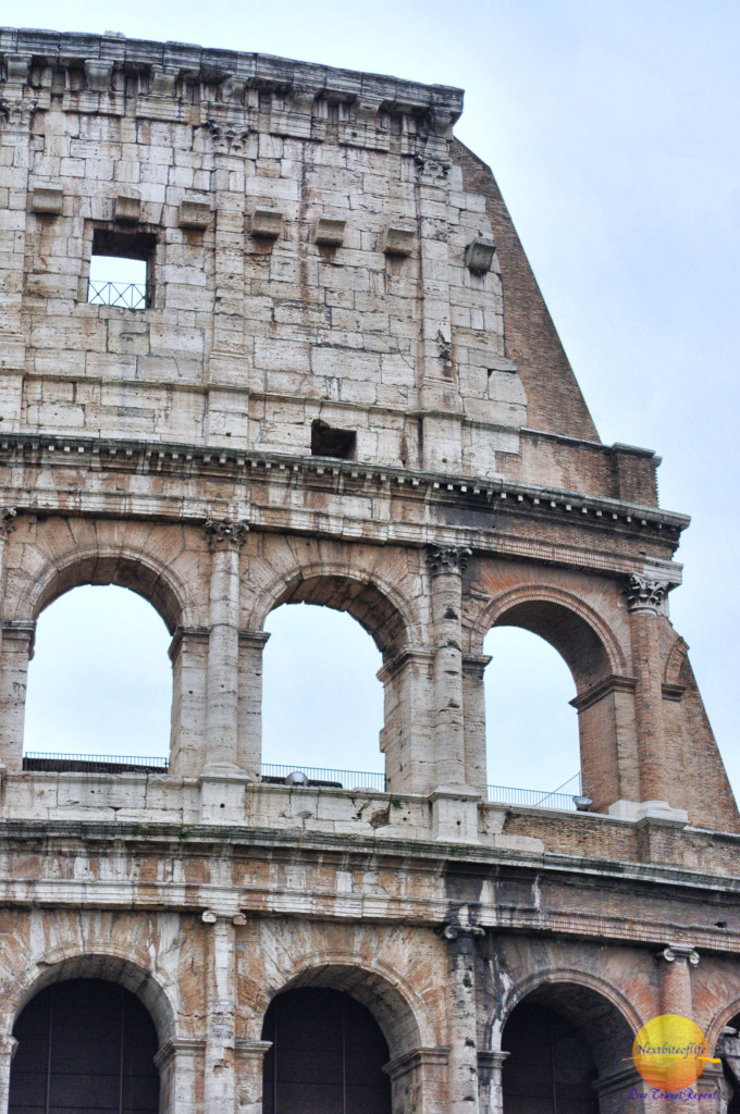 The Rome colosseum, another side view. The best pizza in Rome is close by.