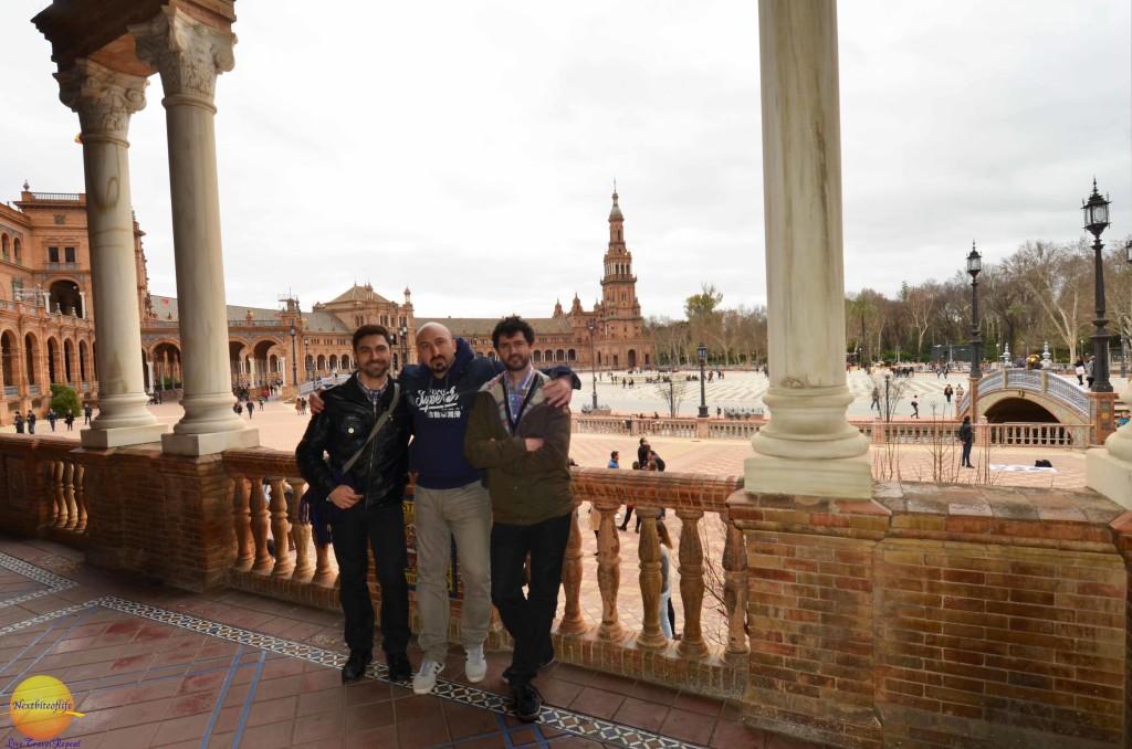 plaza de espana with friends seville