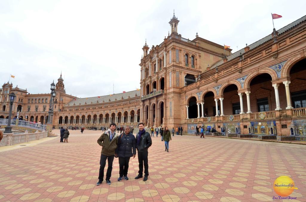 plaza de espana seville 3 people