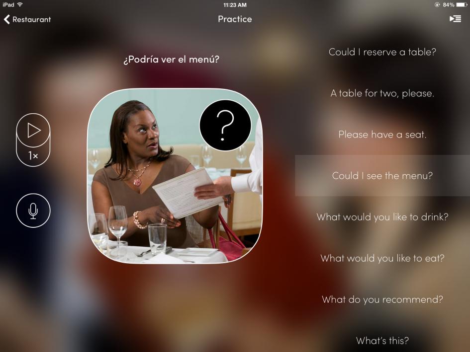black lady holding menu and sorrounded by spanish phrases utalk app