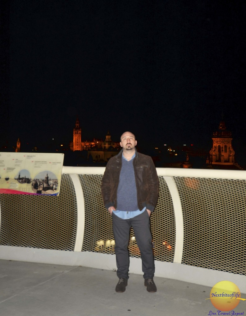 metropol parasol view seville with man standing