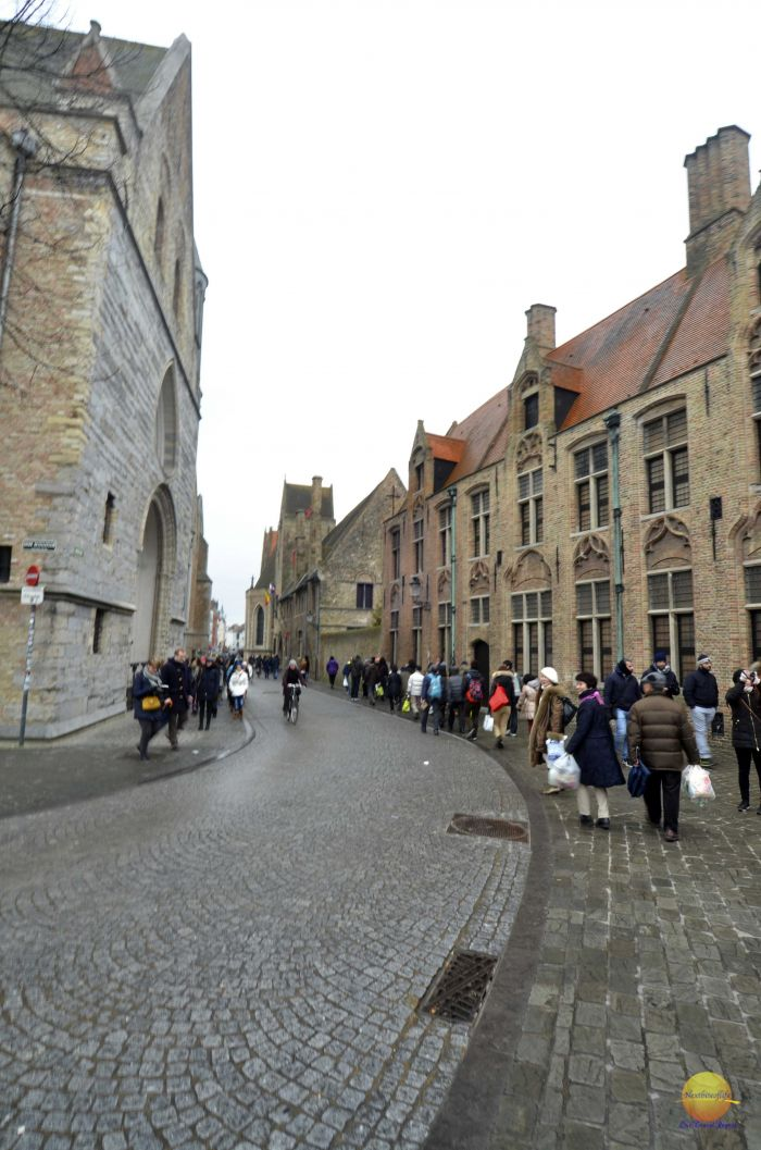 bruge street with people belgium