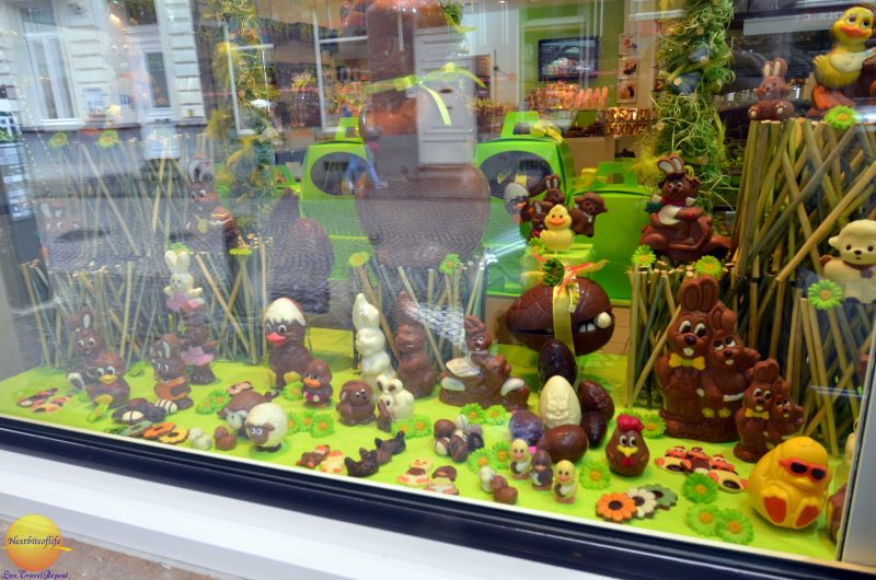 Chocolate display in window in Bruges Belgium..